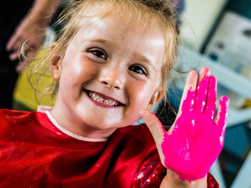Hand painting at Kirkburton Pre-School